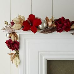 Faux Peony & Amaryllis Garland - Regal Red