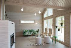 Villa Aava I Tulikiven Valkia Aalto -takka valkoisena. Living Room, Furniture, Outdoor Decor, Room, Home, New Homes, Villa, Inspiration, Room Divider