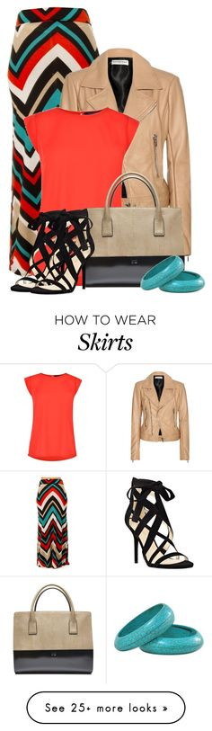 """""""Rust/Navy/Tan Chevron Maxi Skirt"""" by cassandra-cafone-wright on Polyvore featuring Balenciaga, French Connection and Nine West"""