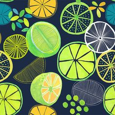 Pattern from 'Luscious Limes' series, Jocelyn Proust Designs Food Patterns, Pretty Patterns, Textile Patterns, Textile Design, Textiles, Pattern Design Drawing, Surface Pattern Design, Pattern Art, Atelier Theme