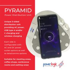 The Pyramid:  Features:  🔌Unique 3-sided distribution unit providing AC power, USB type A and/or C charging and wireless charging 🔌Each side is configurable with AC and DC power outlet options as well as data/comms optons 🔌Fixed or movable depending on the application 🔌Available in a variety of finishes and colours 🔌Customizable fabric top 🔌Suitable for meeting areas, coffee shops, conference rooms and waiting areas