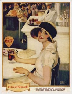Café com Arte: Pintura de Andrew Loomis para publicidade da Coca Cola na década de 1920.