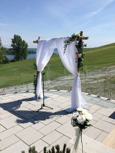 Dream setting to say your vows to one another.    Green garlands filled with garden roses and peonies!!!!