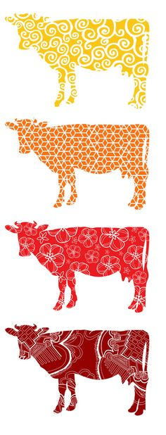 Cow silhouette wall decal set of four cow decals by RadRaspberry