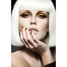 Beautiful girl in a white wig, with gold makeup and nails. Celebratory... ❤ liked on Polyvore featuring beauty products