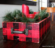 Create a simpl, rustic, cabin style centerpiece with a crate painted in buffalo check stencil. Cabin Christmas, Plaid Christmas, Primitive Christmas, Rustic Christmas, Christmas Holidays, Christmas Decorations, Christmas Displays, Christmas Signs, Winter Holidays