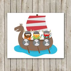 Nursery Print Instant Download Viking Boat by MossAndTwigPrints, $5.00