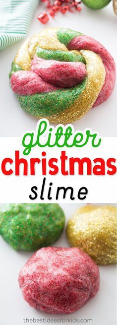 This glitter glue slime is so fun for Christmas!  Kids will love making this easy slime recipe. #glitterglue #glitter #christmas #slime #slimerecipe via @bestideaskids