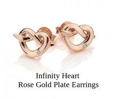 Infinity Heart Rose Gold Plate #Earrings. #Hot Diamonds