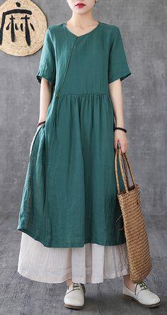 Bohemian o neck pockets linen clothes For Women Neckline red Dresses Simple Summer Dresses, Summer Dresses For Women, Japanese Minimalist Fashion, Natural Fiber Clothing, Cotton Long Dress, Retro Dress, Fashion Dresses, Modest Fashion, Korean Fashion