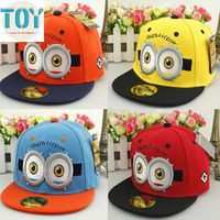 New 1 PCS Fashion Cute Minions Two Eyes Despicable ME Adjustable Cap Hip Hop Hat for 2-6 Years Kids Birthday Gifts Free Tracking