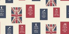 Keep Calm (10850) - Albany Wallpapers - A fun celebration design, based on the popular Keep Calm posters, this design incorporates postcards with text and union jack flags, in red, white and blue. Please request sample for true colour match.