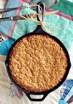 Recipe for Cast Iron Butterscotch-Oatmeal Cookie Skillet With Butterscotch-Bourbon Drizzle