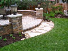 Backyard Unilock Patio, Seat Walls, Pillars, Flagstone Landing. Lombard, IL