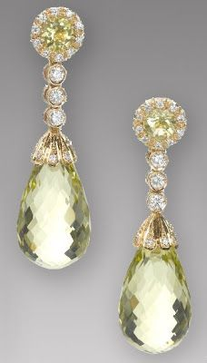 Green Tourmaline and Diamond 18k gold earrings.