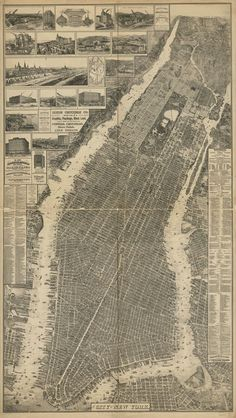 "Old School NYC: a bird's-eye perspective view of New York City, was created by Will L. Taylor (""chief draftsman""), and published by Galt & Hoy of New York in New York City Map, City Maps, Vintage New York, Lower Manhattan, Manhattan Map, Old Maps, Parcs, Birds Eye View, New York"