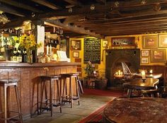 An Irish pub-looks like the set of a movie. This could be done in your home and you could feel like your in an Irish Pub every night and never leave home.