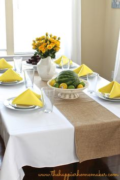Summer Tablescape: Burlap and Yellow...with faux burlap and liquid resistant linens!!