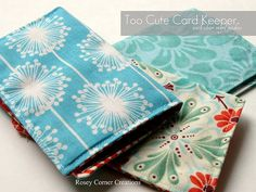 Card Holder, 2 rectangles of fabric with 1 layer of vinyl.  Super cute, very simple, and completely usable!  Under 20 minute project.