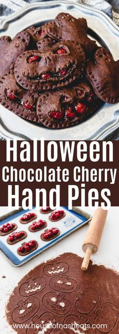 These Halloween Chocolate Cherry Hand Pies an easy and frightfully fun treat to enjoy this October! With a chocolate pastry crust cut out in Jack-O-Lantern shapes and canned cherry pie filling, this handheld dessert will be a hit at Hallowe food halloween Halloween Desserts, Hallowen Food, Halloween Food For Party, Hallowen Party, Halloween Recipe, Halloween Halloween, Holidays Halloween, Chocolat Halloween, Halloween Chocolate