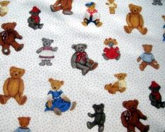 Spotted Teddy Makower UK Fabric 100 Cotton 2/3 yard per unit by NewEnglandQuilter, $7.50