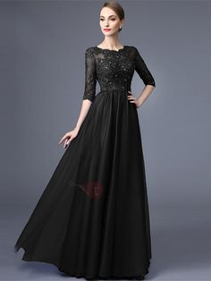 AdoreWe - TideBuy Elegant A-Line Scoop Half Sleeves Appliques Beading lace Long Evening Dress - AdoreWe.com