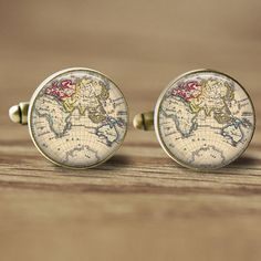 16mm World Map Cuff Links - Glass Cufflinks Picture Cufflinks Photo Cufflinks - Old Map Cufflinks (337) on Etsy, $10.95
