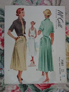 Vintage Pattern 1949 McCall No.7581 FAB Dress and Jacket Size 14. $14.00, via Etsy.