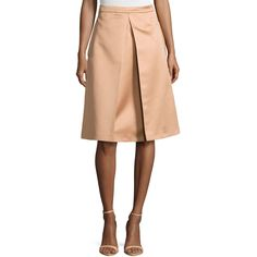 Michael Kors Inverted-Pleat Skirt featuring polyvore fashion clothing skirts suntan michael kors skirts red knee length skirt pleated a line skirt red a line skirt knee length a line skirt
