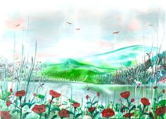 poppies one of my encaustic art paintings  - Sarah Andrews