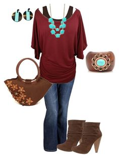 """""""fall plus size"""" by penny-martin ❤ liked on Polyvore featuring VILA, Old Navy, Chinese Laundry, NOVICA and maria-xuan"""