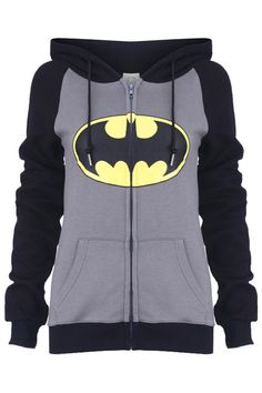 "Romwe.com ""Big Mouth"" Grey Hoodie Coat  $38.99 #Romwe #batman"