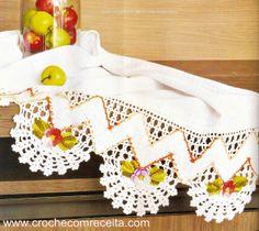 CROCHE COM RECEITA: Barrado em crochê ziguezague floral