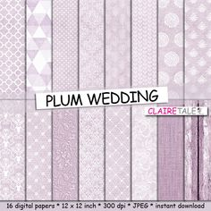"""Plum digital paper: """"PLUM WEDDING"""" with plum damask, lace, quatrefoil, flowers, hearts, polka dots, triangles, stripes, linen, wood by ClaireTALE on Etsy"""