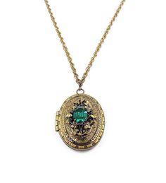 Vintage Victorian Style Large Gold Embossed Locket with Emerald Green Rhinestone - Vintage Locket, Vintage Necklace by zephyrvintage on Etsy