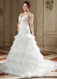 Corte A/Princesa Escote corazón Cola capilla Organdí Satén Vestido de novia con Encaje Lazo(s) Cascada de volantes (002000216)