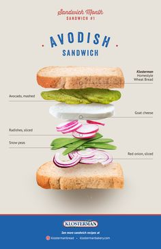 In honor of #NationalSandwichMonth, we introduce our Avodish Sandwich recipe. You'll love it with our special #Klosterman Homestyle Wheat Bread!