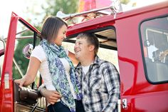 engagement photos with fire truck