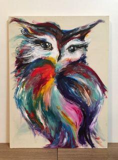 Original large owl painting on a handmade wooden owl cow .,Original large owl painting on a handmade wooden owl art . # Owl painting How To Make Wood Art ? Wood art is usually the task . Owl Art, Bird Art, Watercolor Paintings, Original Paintings, Original Art, Wooden Owl, Acrylic Art, Animal Paintings, Colorful Paintings
