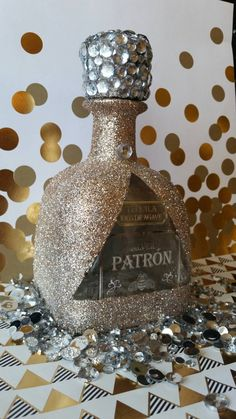 Items similar to Patron silver birthday/party decor tequila lover gift :) on Etsy Bedazzled Liquor Bottles, Decorated Liquor Bottles, Bling Bottles, Tequila Bottles, Decorated Wine Glasses, Glitter Wine Bottles, Alcohol Bottle Decorations, Alcohol Bottle Crafts, Alcohol Bottles