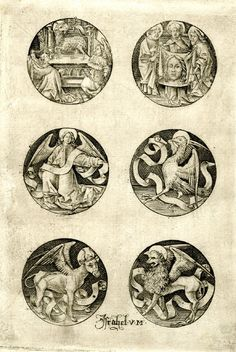 Print made by: Israhel van Meckenem biographyAfter: Martin Schongauer (partly)--Six religious subjects: The lamb of God, St Veronica between St Peter and St Paul, holding the Sudarium, the symbols of the four Evangelists; sheet five of the series, six roundels, two in each row; second state Engraving