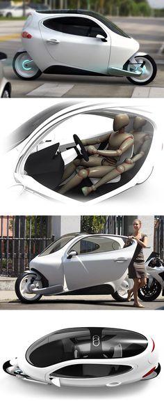 ★♥★ C-1 Electric #Vehicle // Is it a #motorcycle ? Is it a #car ? Yes to both.    ★♥★ C-1 véhicule électrique / / Est-ce une #moto ? Est-ce une #voiture ? Oui pour les deux.    #bike #fly #cycling #Tech #Gadgets #Gadget #technology #technologie #Social #Media #SocialMedia #tool #design #designer #evolution #modern #Goodies #Stuff #truc #tricks #tips