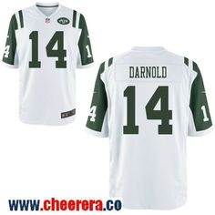 c05cd714b Men s New York Jets  14 Sam Darnold White Road Stitched NFL Nike Game Jersey