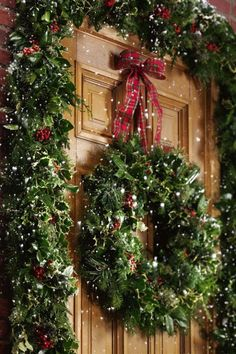 Deck the door & door way with boughs of holly and greenery!