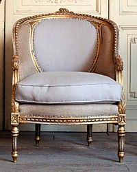 Vintage Louis XVI French Style Gilt Bergere Chairs-antique,chair,bergeres, gold,furniture, roses,floral, hand carved, upholstered, burlap,
