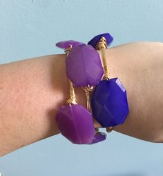 Ombre Purple Bangle Stack - Wire Wrapped Bracelet, Geo Bead - Hyacinth Purple, Eggplant Purple, Royal Purple - Bourbon and Boweties…
