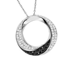 "Black & White Diamond Sterling Silver Circle Pendant w/ 18"" Chain MSRP New $1200"