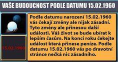 VAŠE BUDOUCNOST PODLE DATUMU 15.02.1960