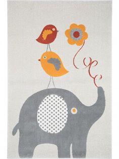 Kinderteppich Birdies and Elephant Orange 80x150 cm