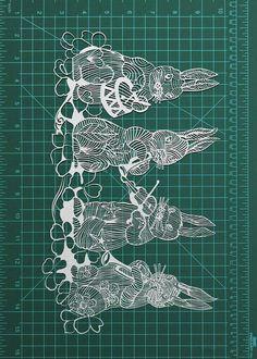 Easter bunnies papercut art  11x14 papercutting